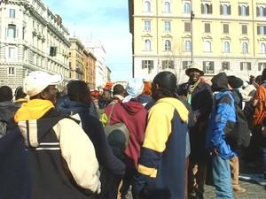 Alcuni dei manifestanti in corteo a Roma