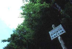 cartello di divieto di caccia