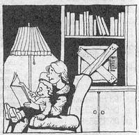 Mamma e bambino che leggono in alternativa a guardare la Tv