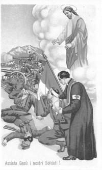 L'opera esplicita del cappellano militare sul campo di battaglia è sostenuta dalla benevola protezione divina.