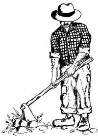 Disegno di un contadino che zappa