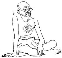 Disegno di Gandhi seduto