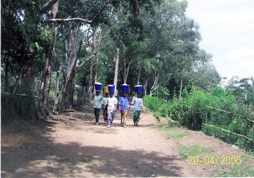 Quattro donne portano dei secchi colmi di farina di manioca al mercato