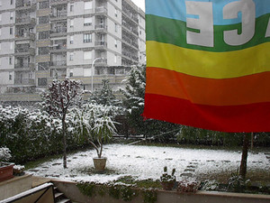 Aprile, a Foggia, la neve sul nostro giardino, la nostra bandiera di pace. Da Giovanni, Annamaria, Giuseppe e Fabrizio