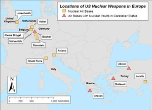 Locations of US Nuclear Weapons in Europe.