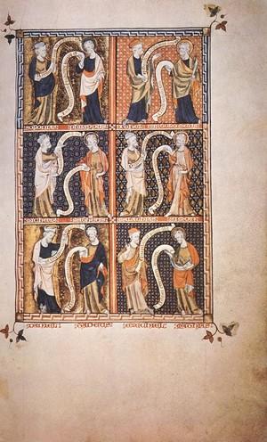 Antico manoscritto inglese che raffigura alcuni profeti e apostoli. Nel primo riquadro Sofonia e Filippo.