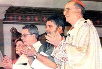da sinistra: Frei Betto, Inácio Lula,l'arcivescovo di San Paolo Claudio Hummes