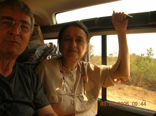 Chiara durante il viaggio da Kinshasa a Kenge