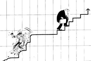 Vignetta l'economia liberista penalizza il povero ed arricchisce il ricco