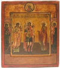 """Icona: """"Arcangelo Michele con Angelo Custode e Profeta Naum"""", Scuola di Mosca del XVIII secolo."""