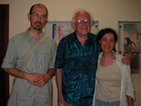Johan Galtung al termine dalla conferenza tenuta all'Università di Foggia.