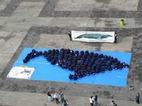 la balena formata dai corpi degli studenti canadesi