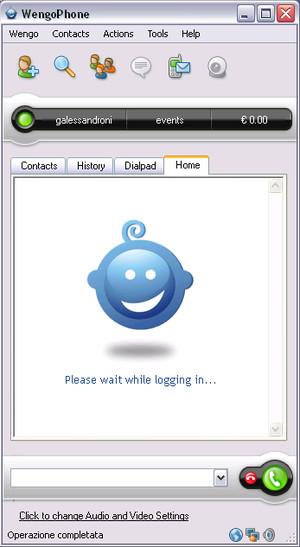 Schermata iniziale di OpenWengo