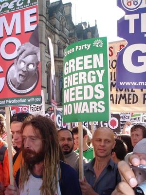 Stop the war demo: green energy needs no wars