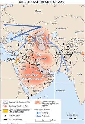 Mappa delle aree di conflitto in Medio Oriente