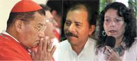Il Cardinale Obando y Bravo, Daniel Ortega e Rosario Murillo