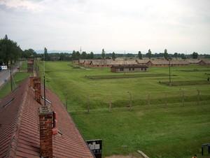 il lato sinistro di Birkenau visto dalla torretta