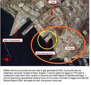 Ipotesi di vaporizzazione e incendio di GNL che coinvolge l'area dell'Agip a Taranto