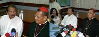 Daniel Ortega ed il Cardinale Obando y Bravo durante la conferenza stampa (© Foto G. Trucchi)