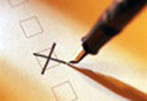 Una croce su una scheda elettorale