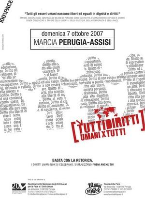 La locandina della Perugia-Assisi 2007, dedicata ai diritti umani