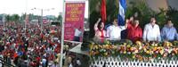La folla di Plaza de la Fe a Managua e i presidenti invitati