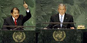 Daniel Ortega e George Bush durante i loro interventi