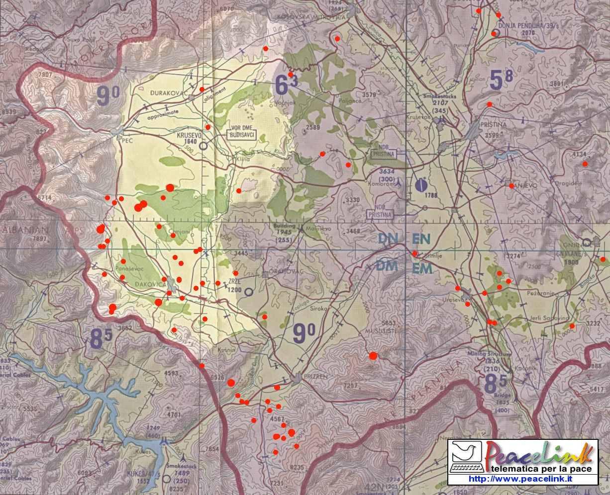 Mappa dettagliata dei bombardamenti della Nato con uranio impoverito in Kosovo. A cura di PeaceLink