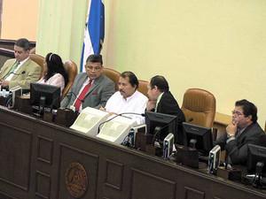 Il presidente Ortega durante la sessione in Parlamento (Foto G. Trucchi)