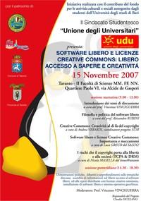 """""""Software libero e licenze Creative Commons: libero accesso a sapere e creatività"""""""